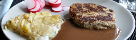 Potatisgratäng dauphinois med hasselnötsbiff