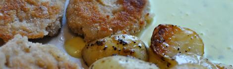 Citronpanerad soyafilé med citronig klyftpotatis och bearnaisesås
