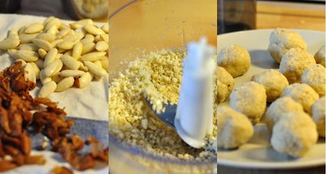 Nyskållade mandlar, nyhackade mandlar och nyrullade mandelbullar