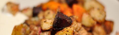 Rotsakspytt med soyagrytbitar och ingefärssås
