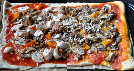 Ogräddad och gräddad svamppizza