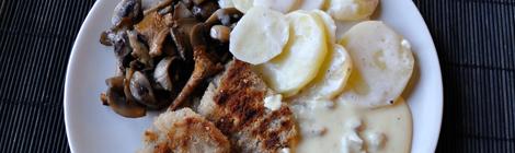 Rödvinsmarinerade soyafiléer med svampsås och potatisgratäng