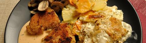Panerad soyafilé med rotfruktsgratäng, pepparsås och stekta champinjoner